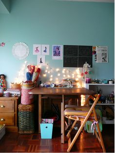 .... love tht idea of lights on the wall for my desk.