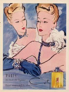 Coty 1945, Paris  illustrator: Eric Erickson, Elegant Parisienne
