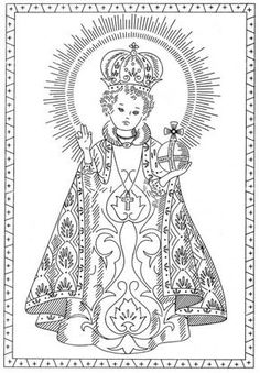 Free Pattern Friday — The Infant of Prague and Saint Thérèse of Lisieux Embroidery Transfers – Q is for Quilter Catholic Crafts, Catholic Art, Religious Art, Cat Coloring Page, Coloring Books, Coloring Pages, Embroidery Transfers, Embroidery Patterns Free, Infant Of Prague