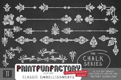Chalk classic embellishments 2 clip art INSTANT by PrintFunFactory