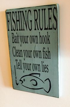 "Hand Painted ""Fishing Rules"" Sign"