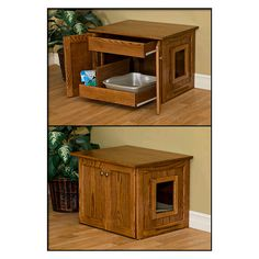 Hidden Cat Litter Box - NipandBones.com  Like the rolling drawers, hate the shape and wood color.