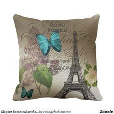Elegant botanical art floral vintage paris pillow