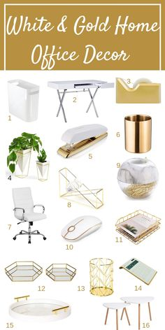 White and Gold home office ideas for a beautiful home office that is functional feminine and chic This post covers home office ideas to make working from home enjoyable homeofficeideas whitehomeofficedecor workfromhome Work Desk Decor, Study Room Decor, Cute Room Decor, Work Office Decorations, Decorating Office At Work, Work Desk Organization, Desk Decorations, Gold Room Decor, Wall Decor