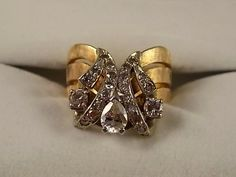 1970s Diamond Ring 1.13Ctw Yellow Gold 14K 7.9gm Size 5.25 Brushed Finish Wedding or Right Hand Ring