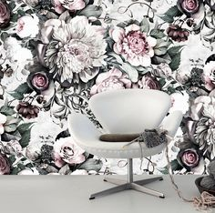 Ellie Cashman Dark Floral II wallpaper in 'Light Fresco'. Available at www.elliecashmandesign.com