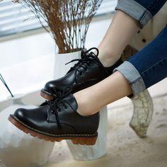 Barato Sapatos Femininos mulheres Oxfords Vintage PU de couro Lace Up rodada Toe Paltform Sapatos Zapatos Mujer, Compro Qualidade Oxfords - Masculino diretamente de fornecedores da China:    bem-vindo à minha loja- todos os nossos produtos são o mesmo como a foto, o que você vê é o que você recebe!- t