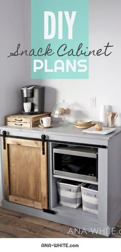 [orginial_title] – Ana White Barn Door Cabinet with Mini Fridge and Microwave Build your own mini fridge cabinet with microwave! Works as a coffee bar too! Microwave Stand, Microwave Cabinet, Refrigerator Cabinet, Small Refrigerator, Mini Fridge Bar, Mini Fridge Decor, Mini Fridge In Bedroom, Microwave Table, Diy Furniture Plans