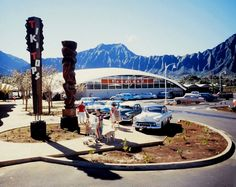 The Foodland supermarket at the Windward City Shopping Center in Kaneohe on Oahu in the Territory of Hawai'i just before statehood in 1959