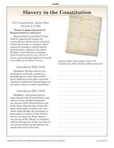 Your student can compare different parts of the Constitution that relate to slavery. US history. First Grade Worksheets, Vocabulary Worksheets, Worksheets For Kids, Constitution Facts, Radical Expressions, Triangle Worksheet, Reading Comprehension Activities, New Teachers, Learning Resources