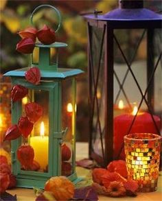 Cool Orange Fall &Thanksgiving Decorating Ideas with Chinese Lanterns Fall Candles, Candle Lanterns, Pillar Candles, Fall Lanterns, Romantic Candles, Chinese Lanterns Plant, Centerpieces, Table Decorations, Harvest Decorations