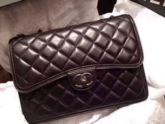 Black Quilted Lambskin Small Double Flap Bag