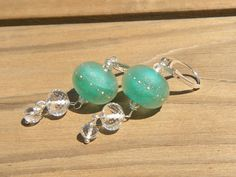 Sea Green Sea Salt Earrings // Boro Glass by CloverBlueToo on Etsy, $50.00