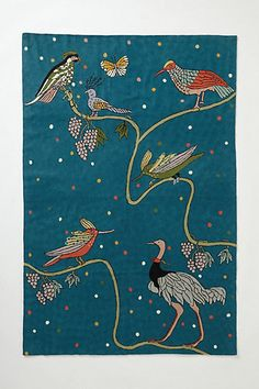 Avifauna Rug - anthropologie.com-Love the birds and the background color