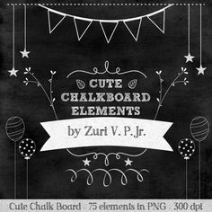 Cute Chalkboard Elements /Chalkboard Clip Art / Instant Digital Download / Graphics for Invitations and Digital Scrapbooking on Etsy, $67.75