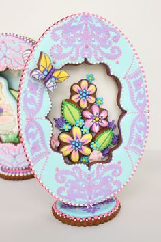 3-D Blue Fabergé Easter Egg Cookie by Julia M. Usher, www.juliausher.com