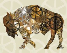 Steam Punk Buffalo Art Print  Buffalo Bison by SilentMyloStudio