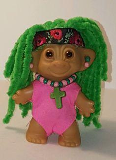 "Custom Restored One of a Kind 3"" RASTA HIPPIE Vintage Wishnik TROLL DOLL - OOAK #Uneeda #Dolls"