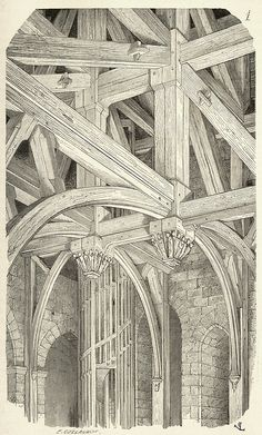 Former belfry of the Chartres cathedral, XIVth century. Burnt down in 1836. From Dictionnaire raisonné de l'architecture française du XIe au XVIe siècle (Reasoned dictionary of French architecture from the XIth to the XVIth century), vol. 2 by E. Viollet-Le-Duc. Paris, 1875.  Via archive.org.