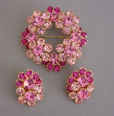 Eisenberg ice pink set in gold tone brooch and earrings 1960  can see repurposed jewelry onto necklace