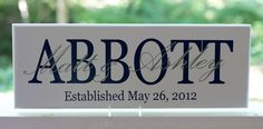 Personalized Wedding Gifts. Wood Sign with Family Last Name and Established Date.. $25.00, via Etsy.