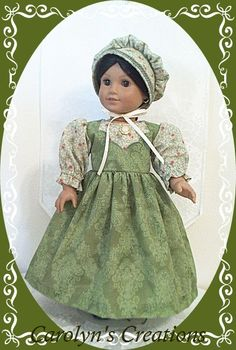 Handmade by My Treasure Attic (aka..Carolyn's Creations) for the American Girl Doll, Josefina. 3pc  1850s style, Day Frock Ensemble.