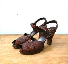 Vintage 1940s Shoes  40s Peep Toe Heels  The by BohemianBisoux, $120.00