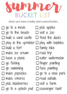 Summer Bucket List... things to do when you have a baby and preschooler. Great list of activities that work for both ages, get the whole family in on Summer fun. #SummerBucketList