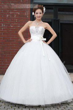 プリンセスライン ボールガウン ストラップレス 蝶結び ウェディングドレス