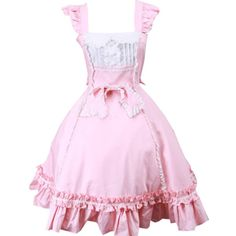 Partiss Women's Sweet Pink Sleeveless Bow Cotton Lolita Dress ($21) ❤ liked on Polyvore featuring dresses, no sleeve dress, pink dress, cotton day dresses, cotton dresses and sleeveless cotton dress