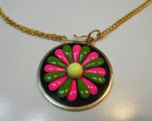 Vintage Retro 60's 70's Flower Power Bright Pink Green Colorful Choker Necklace…