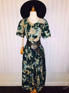 Vtg Green Batik Boho Hippie Coachella 70's Tie Dye Effect Dress Sz M-L by casadelagitana on Etsy