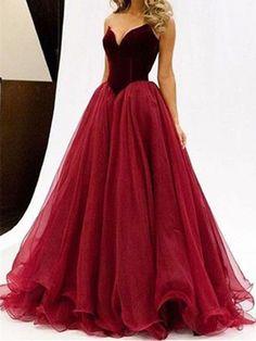 Sweetheart Neck Floor Length Maroon Ball Gown, Maroon Prom Dress, Maroon Formal Dress