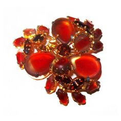 """Schriener Orange Givre Rhinestone Brooch Flower Cluster 2"""" Vintage ($35) ❤ liked on Polyvore featuring jewelry, brooches, flower jewellery, flower broach, orange jewelry, rhinestone flower brooch and vintage jewelry"""