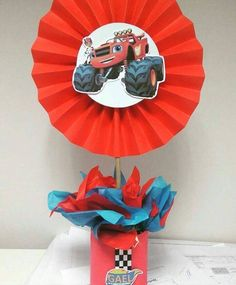 Ideas de Cumpleaños Fiesta Blaze the Monster Machine Blaze And The Monster Machines Party, Blaze The Monster Machine, Festa Monster Truck, Monster Truck Birthday, Monster Trucks, Bolo Blaze, Festa Hot Wheels, Hot Wheels Birthday, Birthday Party Centerpieces