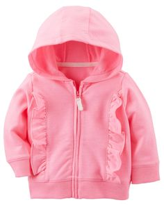 Baby Girl Ruffle Zip-Up Hoodie   Carters.com