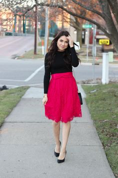 Feminine + Modest Fashion | Red Lace Bow Midi Skirt