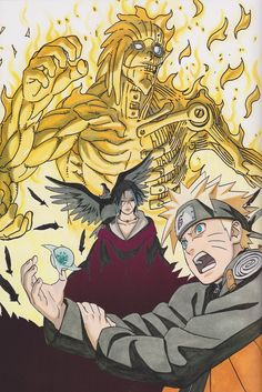 Hero 😇 with Legend Anime Naruto, Susanoo Naruto, Anime Echii, Boruto, Naruto Fan Art, Naruto Shippuden Sasuke, Itachi Uchiha, Naruto And Sasuke, Anime Comics