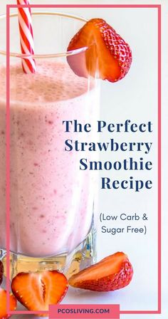 Carb Strawberry Smoothie Recipe The perfect strawberry smoothie recipe, low carb and sugar free // Low carb smoothie recipes // Sugar-free smoothie recipe // PCOS Diet // Easy low carb snack ideas // PCOS Friendly Smoothie Recipe Diabetic Smoothies, Low Carb Smoothies, Fruit Smoothies, Low Calorie Smoothie Recipes, Diet Recipes, Diabetic Breakfast Recipes, Sugar Free Smoothie Recipe, Smoothie Recipes For Diabetics, Diet Tips