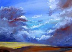 Easy Acrylic Painting Ideas | Storm Over Canola by Alice S. Helwig, AB, Canada