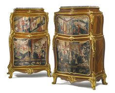 L. Bontemps French, active late 19th century A pair of transitional style gilt bronze-mounted kingwood and Chinese coromandel lacquer decorated cabinets Paris, late 19th century, in the manner of Jean-François Dubut each surmounted by a fleur de pêcher marble top, both stamped L. BONTEMPS / PARIS to the back height 57 in.; width 32 in.; depth 19 1/2 in. 145 cm; 81 cm; 49.5 cm