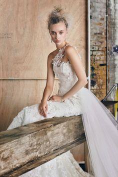 Moda Operandi x Romona Keveza One Shoulder Embroidered Lace Gown Wedding dresses 2016 Lookbook