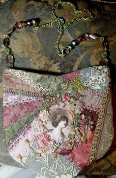 I ❤ crazy quilting  embroidery . . . gathered supplies and purse made. ~By Pat Winters