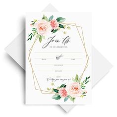 25 Rustic Invitations with Envelopes for All Occasions Bridal Showers Anniversary or Special Event /— Fill in Cards Bliss Paper Boutique Engagement Birthday Party Wood and Floral Invites Perfect for: Weddings