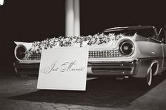 Just Married Classic Car Bride and Groom getaway Tara Guerard Soiree by Liz Banfield