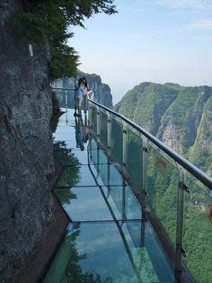 Dangerous glass walkway on Tianmen Mountain, Hunan, China