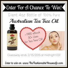 Enter To Win a Giant 4oz Bottle of Tea Tree Oil #EOs #essentialoils #teatreeoil #diy
