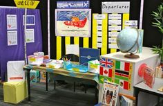 FLUGHAFEN Role play area - Airport- suitcases to pack, weighing, blank passports, blank travel guides for children to write/ draw on, plane, globe, travel brochures, seats for plane, check in area, prohibited items, body scanner?! With X-ray pictures taken on photocopier