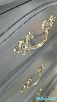 French Provincial bronze hardware on grey dresser French Provincial Bedroom, French Provincial Furniture, French Provincial Decorating, French Dresser, Grey Dresser, Dresser Hardware, Metallic Painted Furniture, Paris Decor, Bronze
