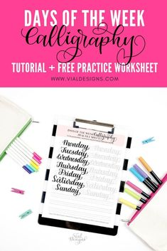 Days of the Week Calligraphy Tutorial plus Free Calligraphy Practice Sheet by Vial Designs Brush Pen Calligraphy, Calligraphy Supplies, Calligraphy Tutorial, Hand Lettering Tutorial, Calligraphy Practice, Calligraphy Alphabet, Calligraphy Fonts, Modern Calligraphy, Calligraphy Quotes Motivation